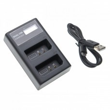 USB-Akku-Dualladegerät für Canon Akku LP-E10 mit Display