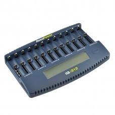 AccuPower 12-Slot LCD Charger IQ312 for Li-Ion/Ni-MH/Ni-Cd