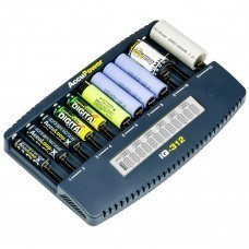 AccuPower 12-Slot LCD Charger IQ312 for Li-Ion/Ni-MH/Ni-Cd
