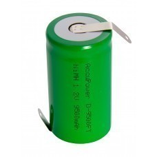 AccuPower Flat Top NiMH battery 1,2V Mono/D with solder tag Z